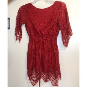 Red lace  backless romper